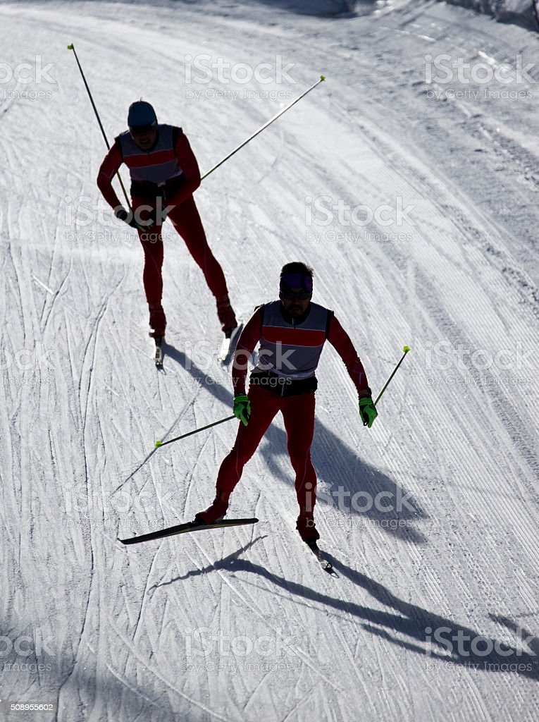 Cross-Country Skiers stock photo