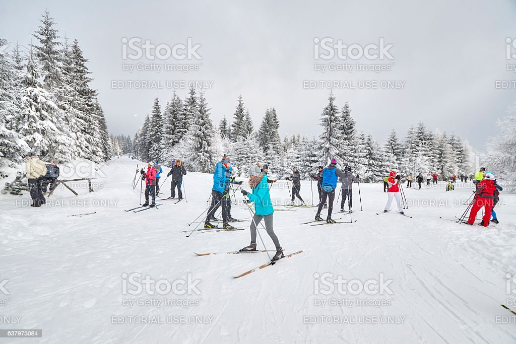 Cross-country skiers resting on trails intersection. stock photo