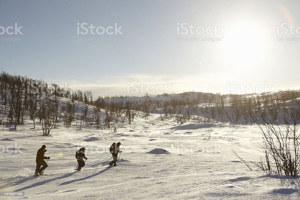 Cross-country skiers walking in snow stock photo