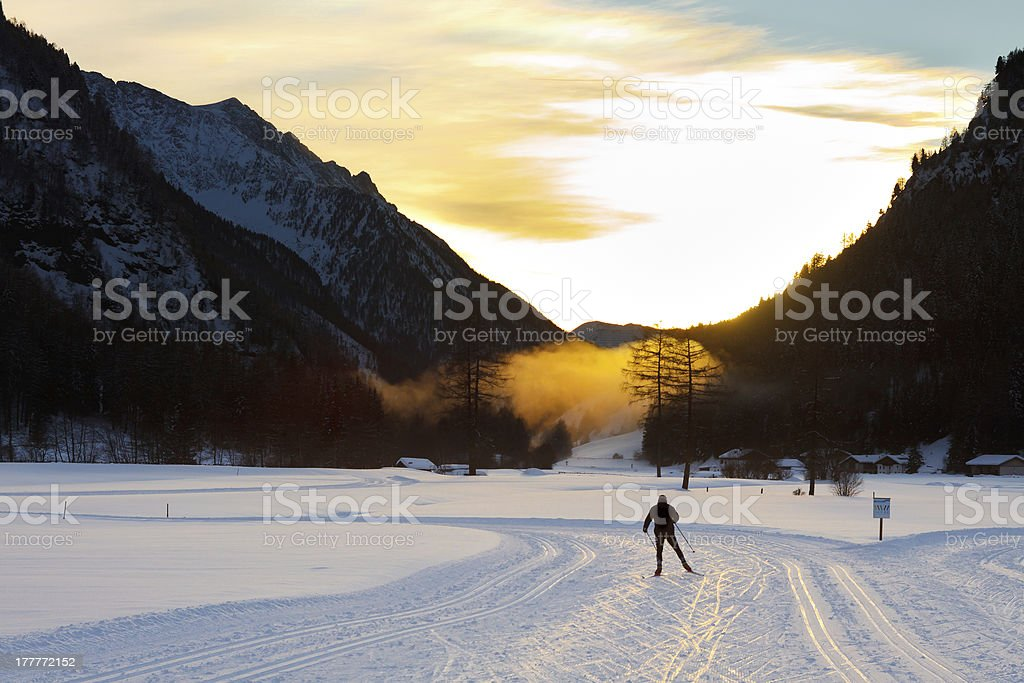Cross-Country Skiing at Sunset stock photo