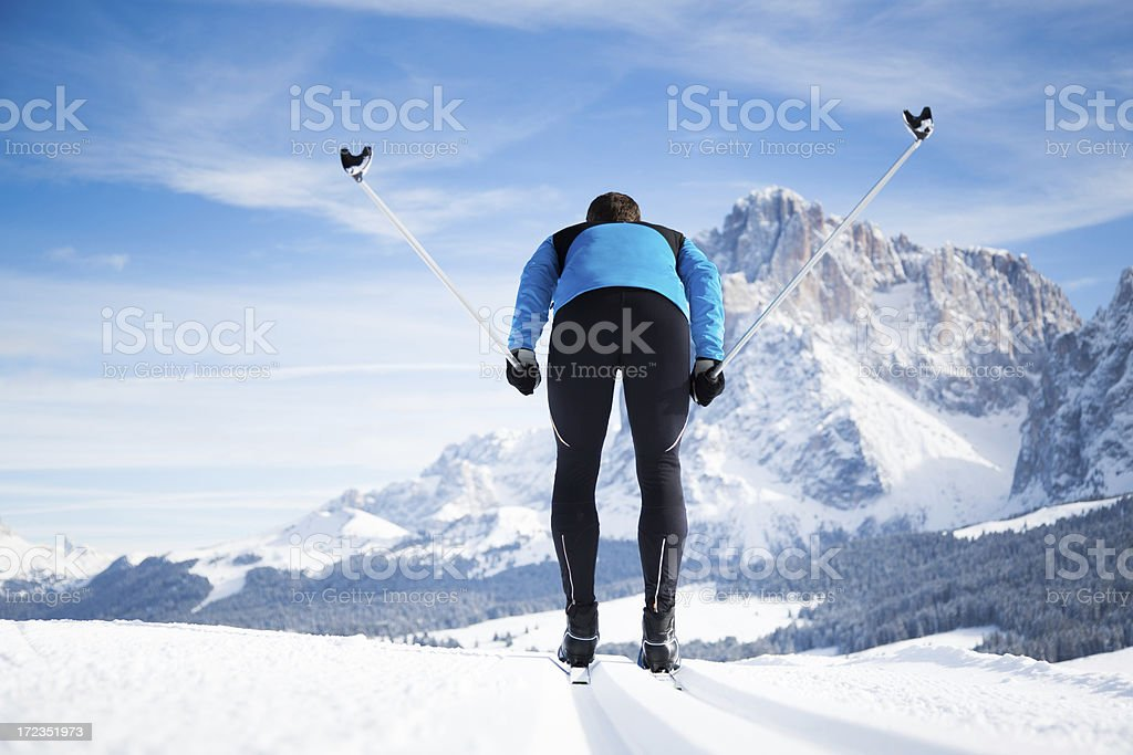 Cross-Country Skiing in Mountains royalty-free stock photo