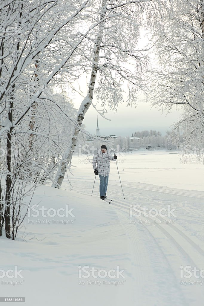 Cross-country skiing royalty-free stock photo