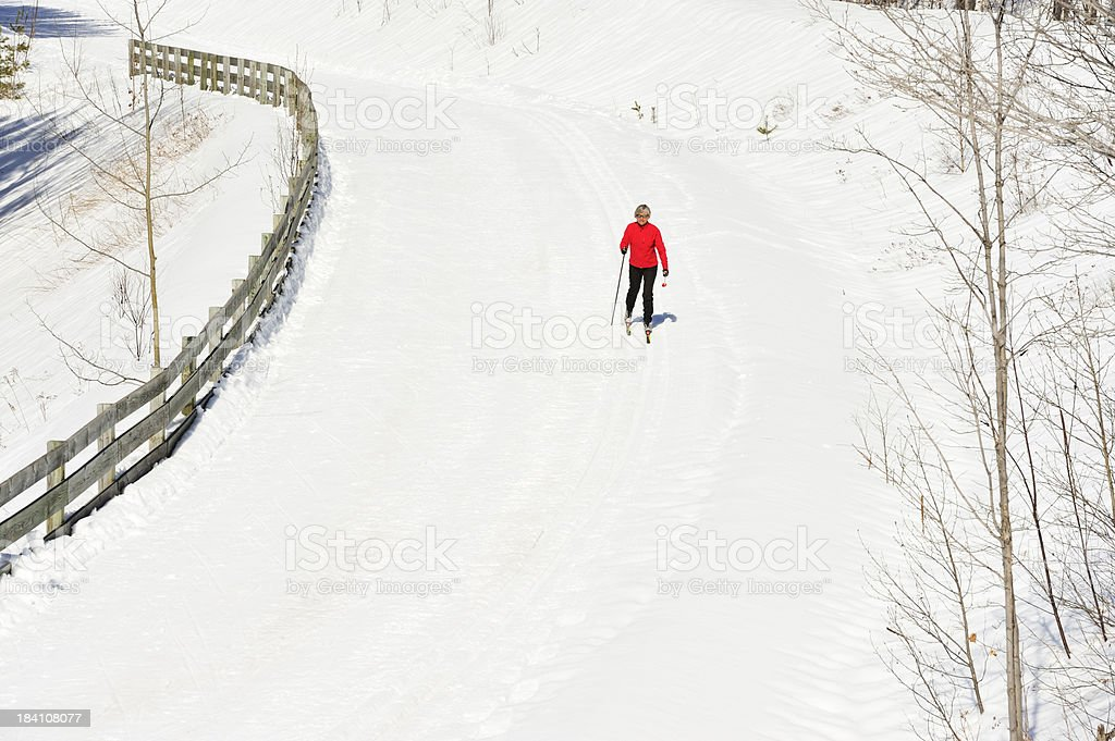 Cross-country skiing, woman, aerial view. royalty-free stock photo