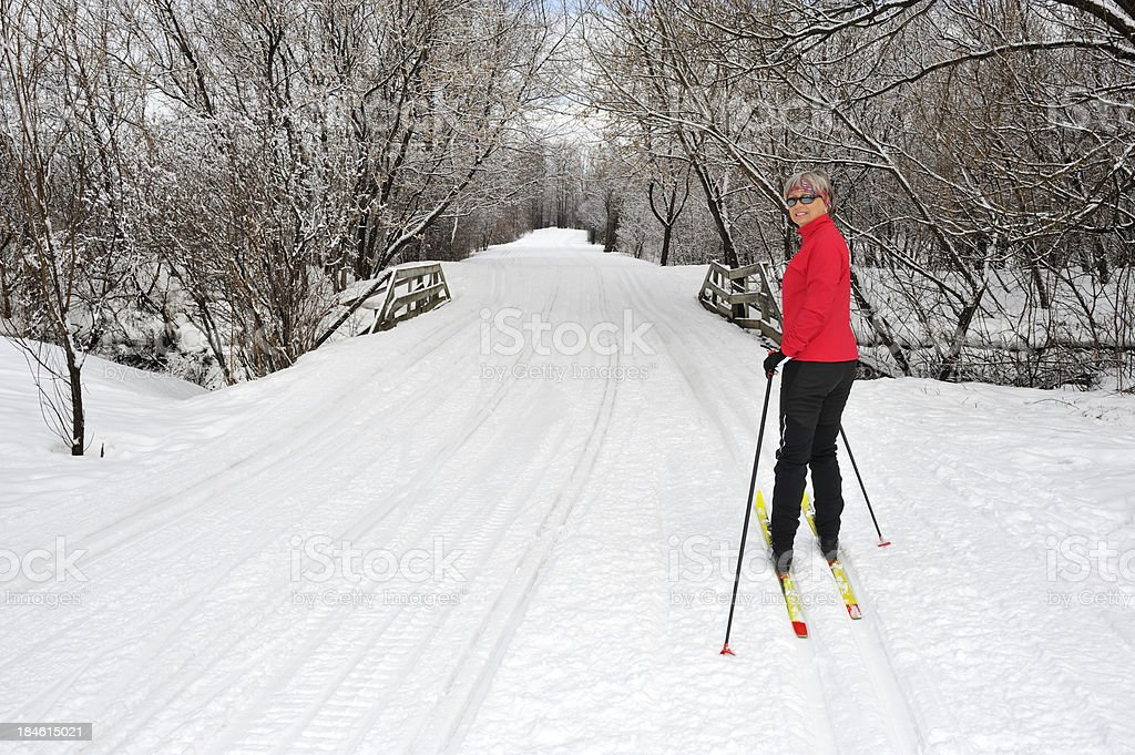 Cross-country skiing, woman royalty-free stock photo