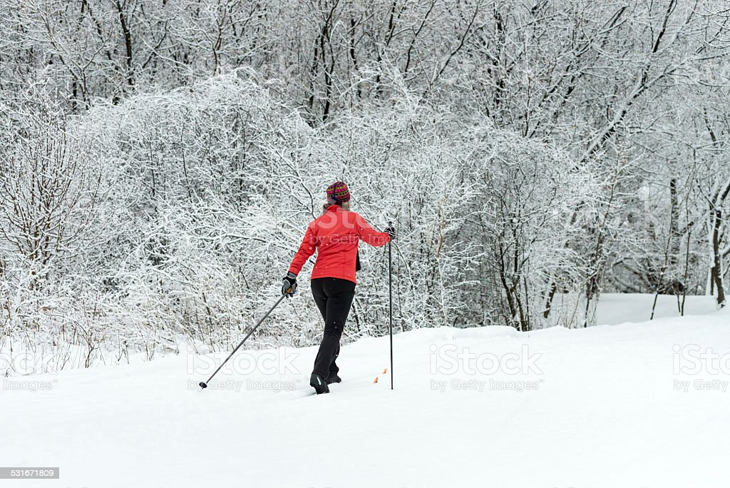 Cross-country skiing, woman stock photo