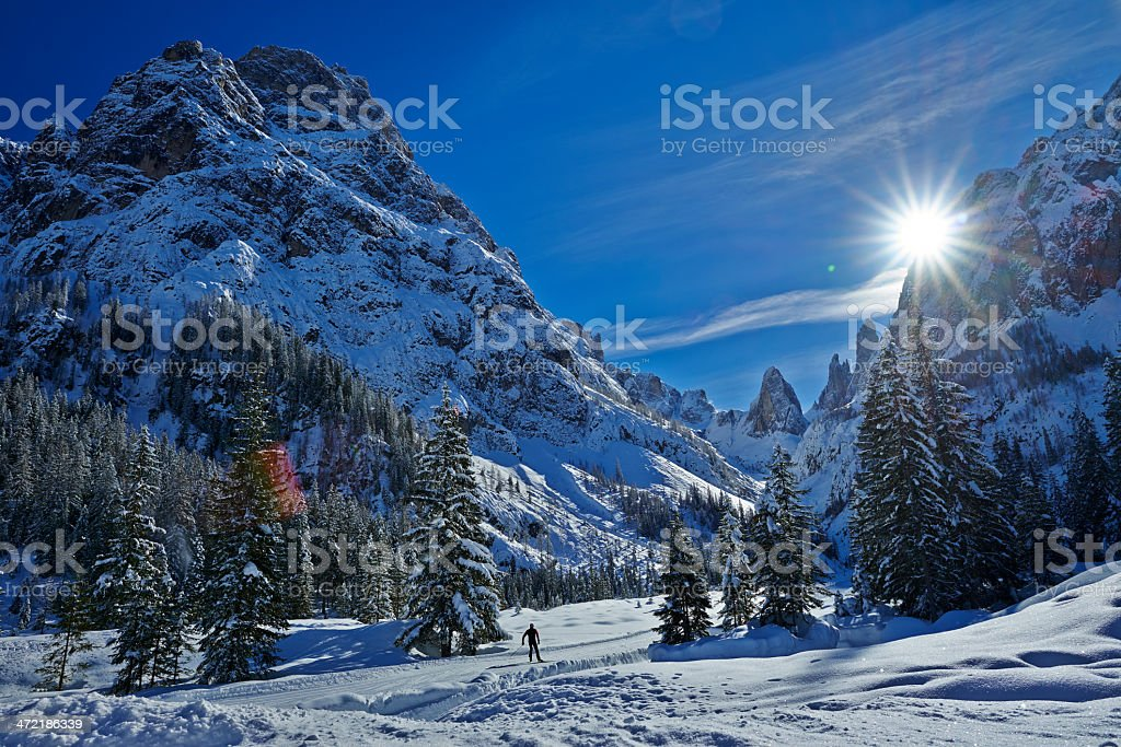 Cross-country Sky in Fiscalina Valley stock photo