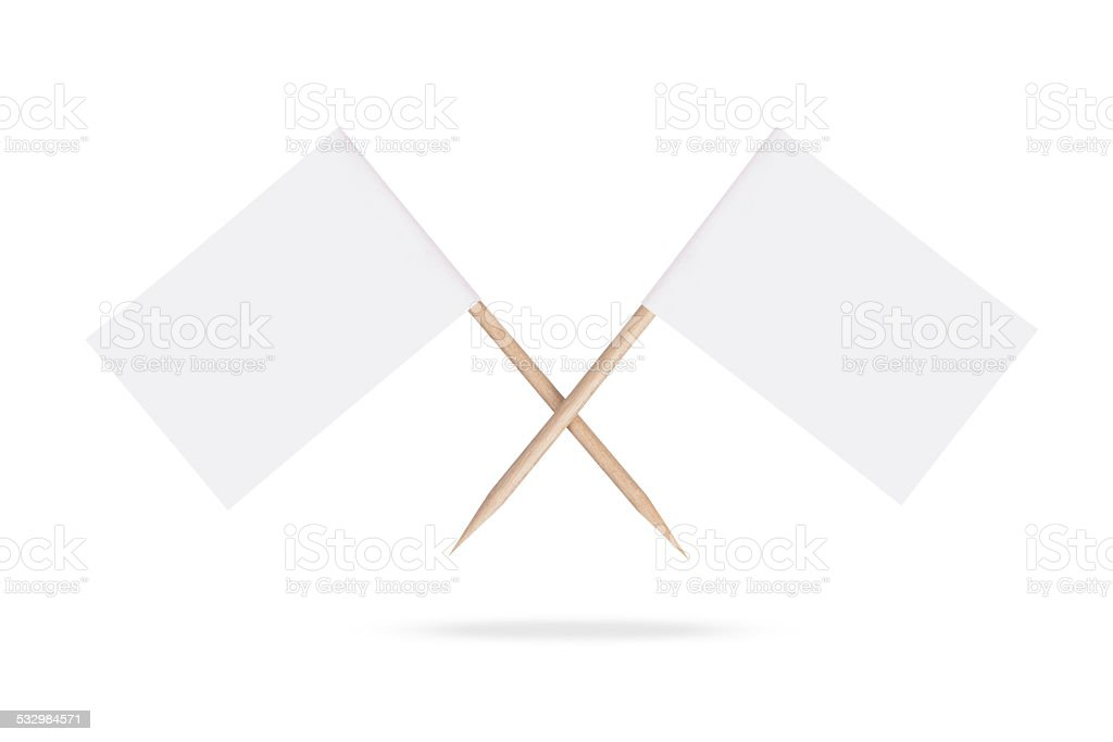Crossed blank white flags.Isolated. stock photo