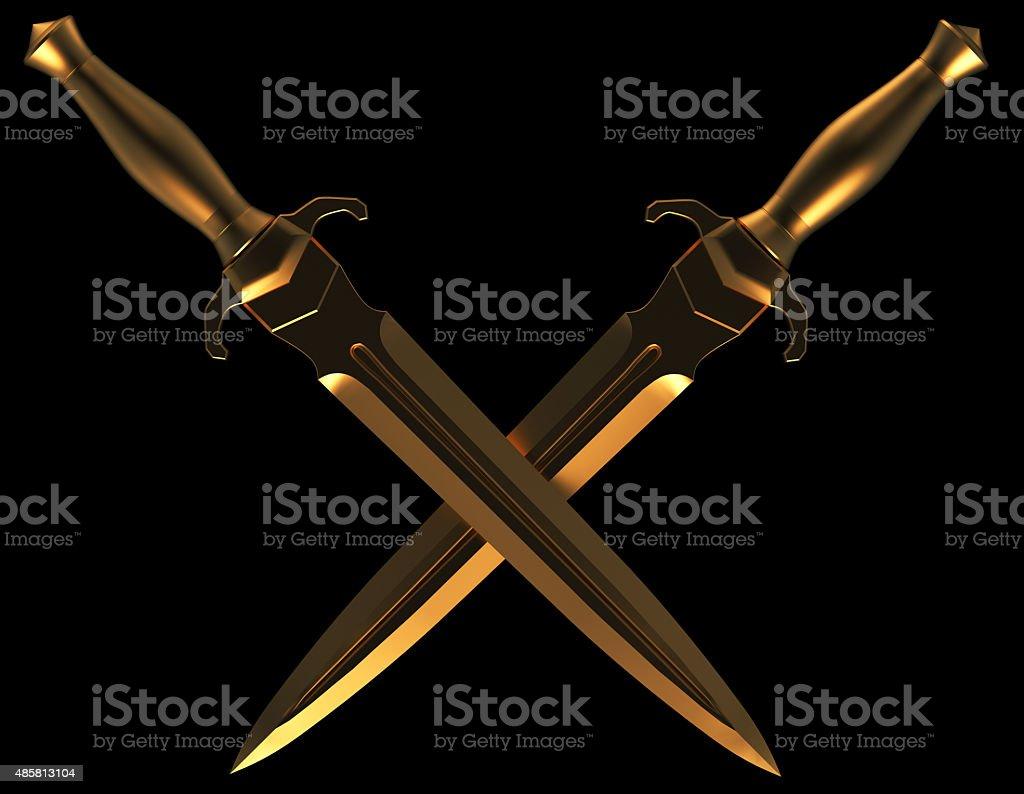 crossed daggers stock photo