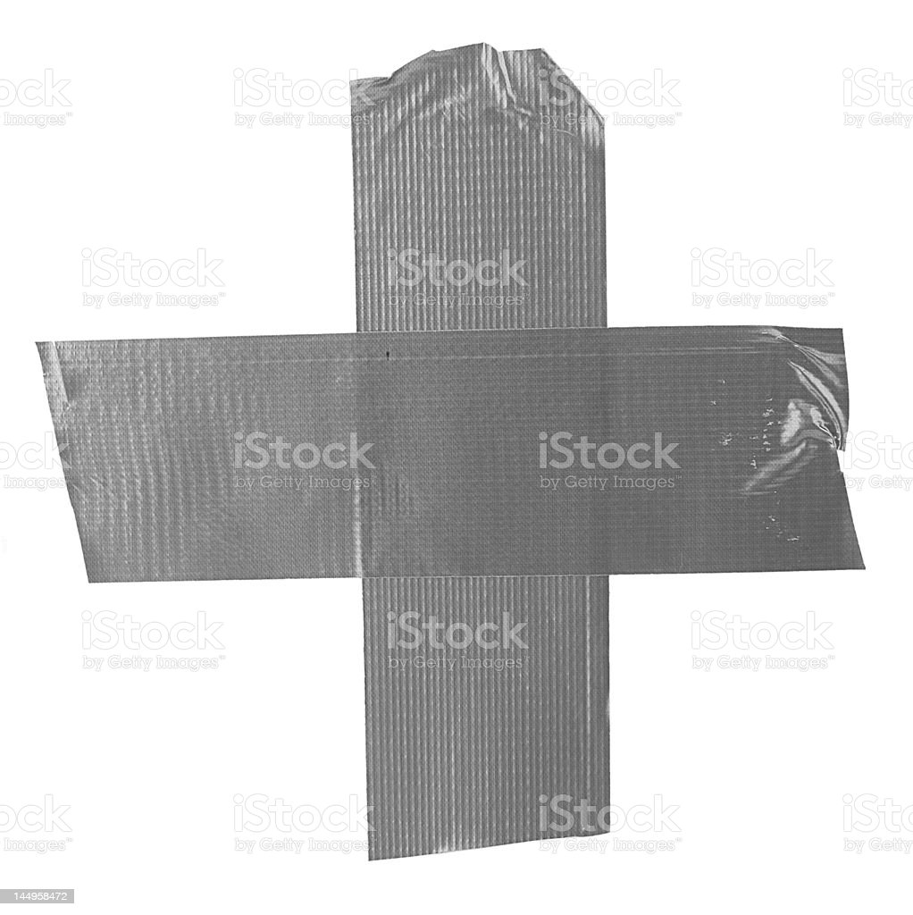 crossed duct tape pieces on white royalty-free stock photo