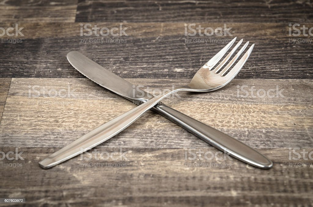 Crossed Knife and Fork stock photo