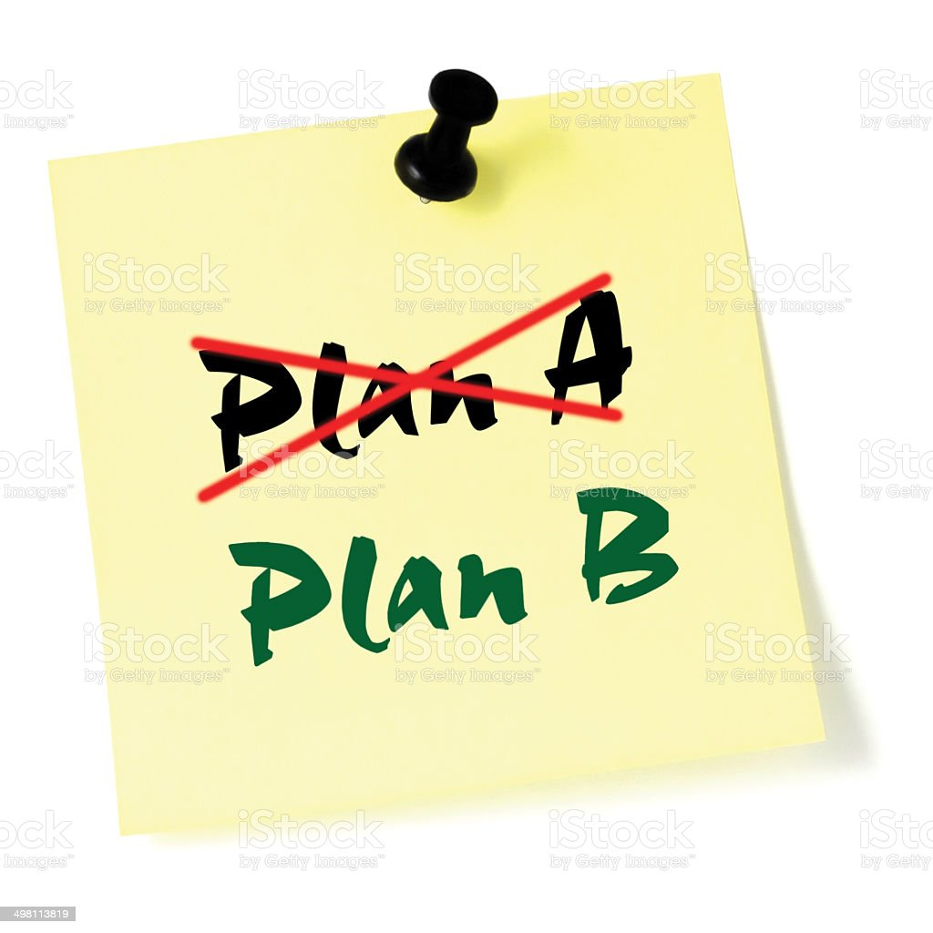 Crossed out Plan A, writing Plan B, Yellow Post-It Sticker stock photo