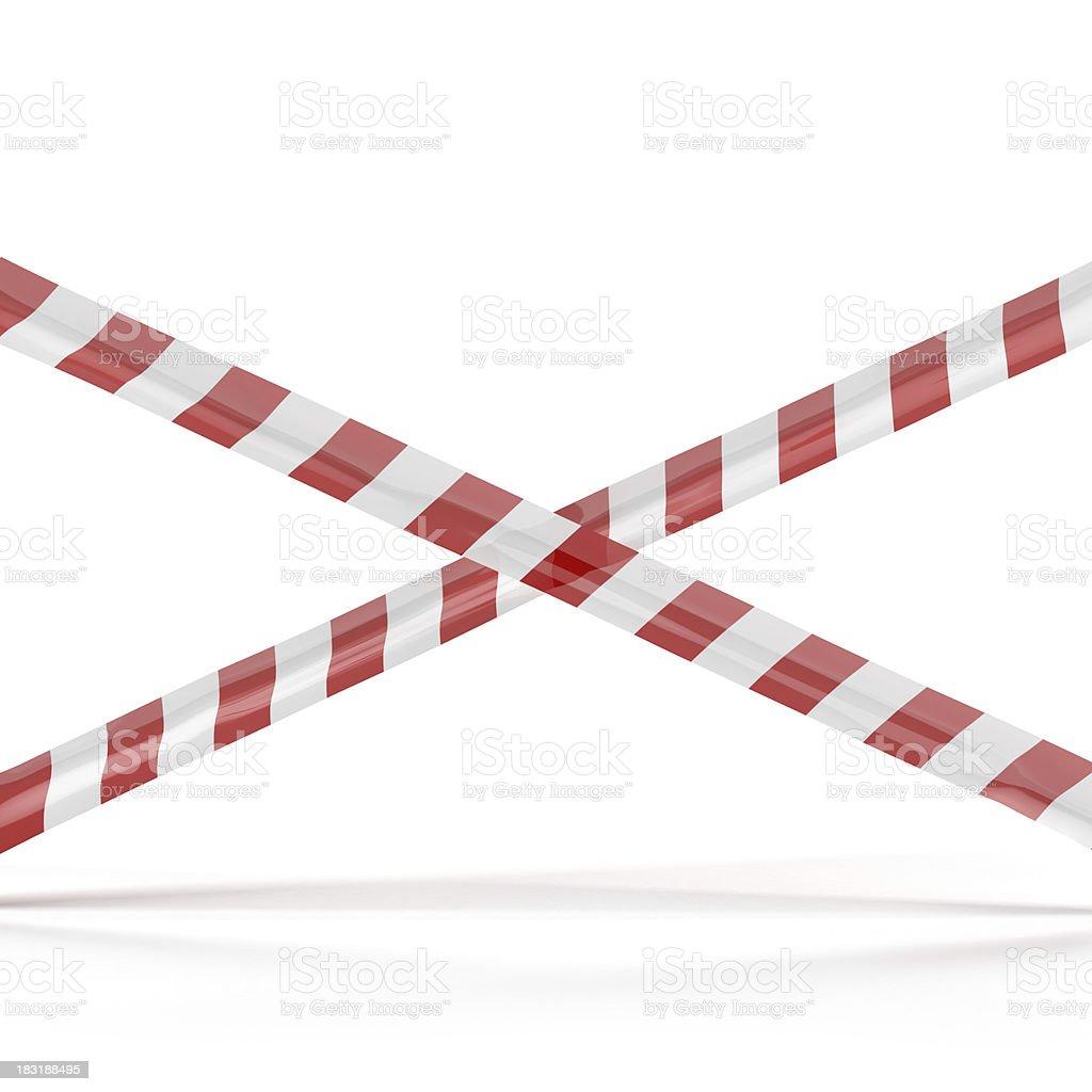 Crossed red white warning tape stock photo