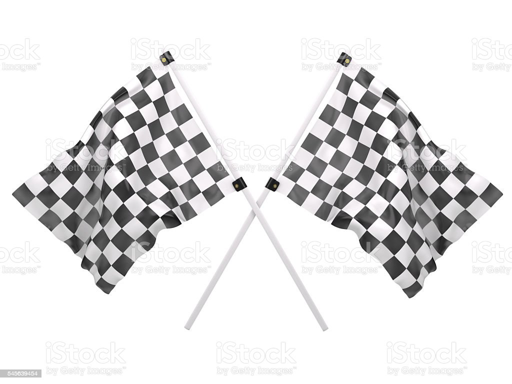 Crossed Twin Checkered Flags stock photo