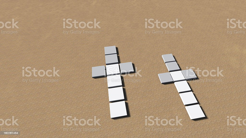 Crosses at sand royalty-free stock photo