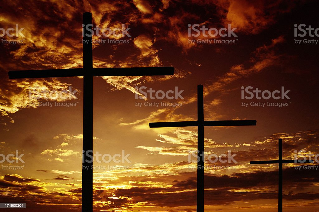 Crosses at Sunset royalty-free stock photo