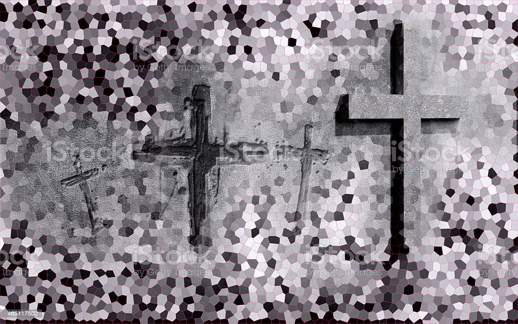 Crosses carved in the wall stock photo