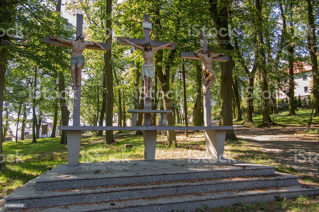 Crosses Jesus and the two thieves on Calvary. International Shri stock photo