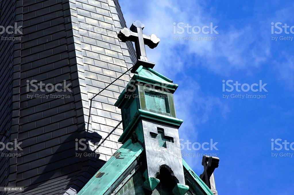 Crosses on Catholic Church stock photo