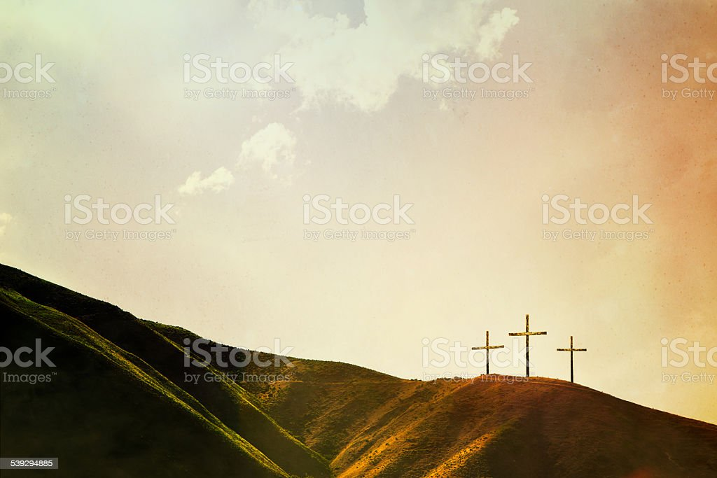 Crosses on Hillside stock photo