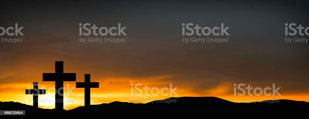Crosses on the hill over sunset background.Religious concept of crucifixion stock photo