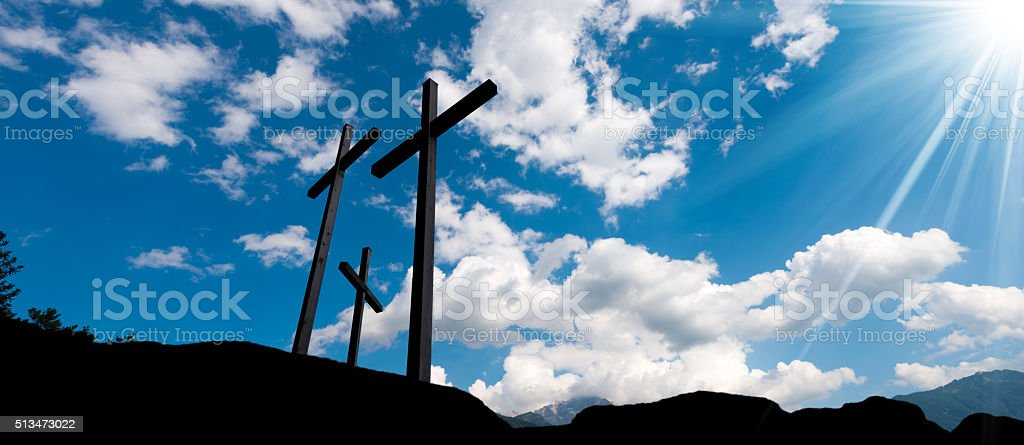 Crosses Silhouette against Blue Sky stock photo