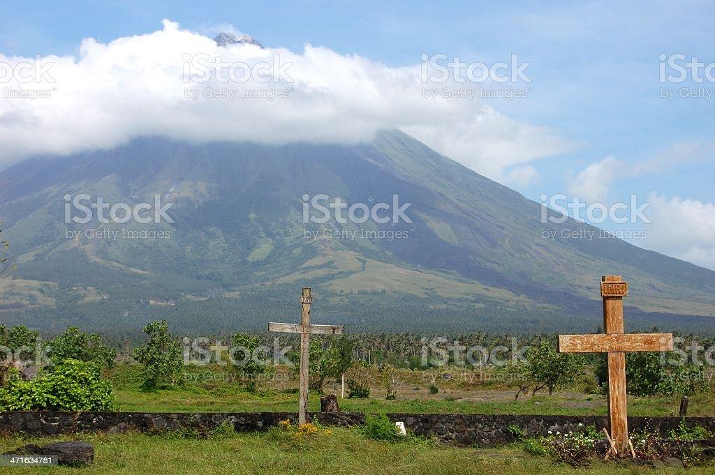 Crosses under Mayon volcano, Philippines stock photo
