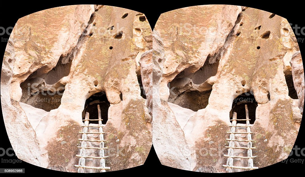VR cross-eyed 3D headset view caves Bandelier National Monument stock photo