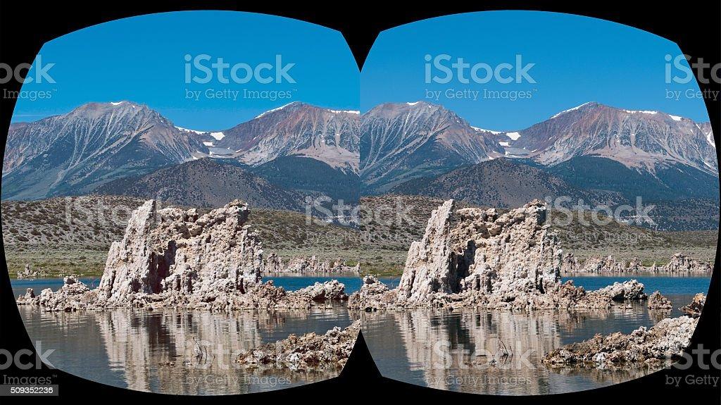VR cross-eyed 3D headset view Mono Lake, California stock photo