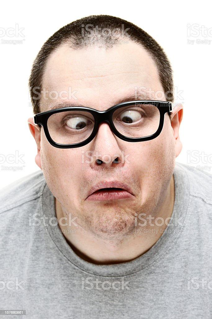 Cross-Eyed Geek royalty-free stock photo