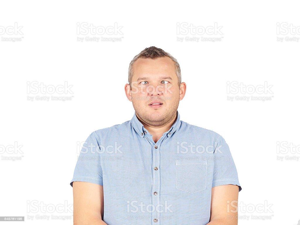 Cross-eyed man, funny faces. stock photo