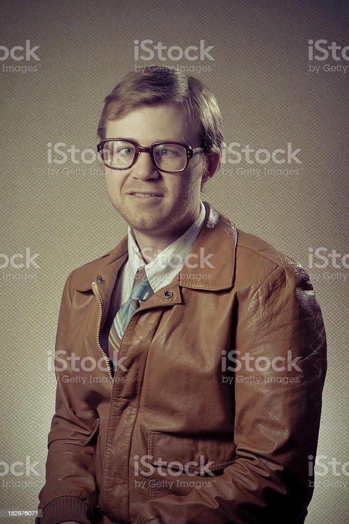 Cross-eyed Nerd Man stock photo