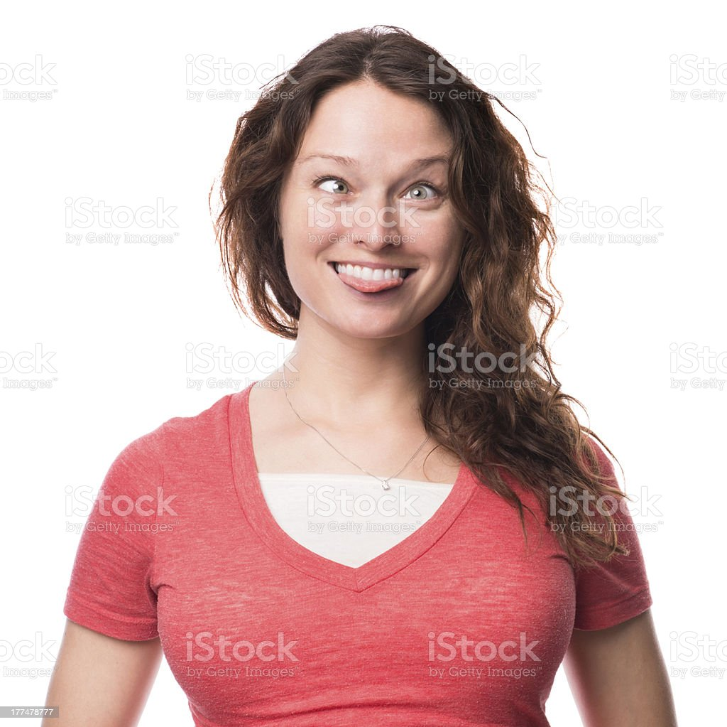 Crosseyed Young Woman Isolated on White Background Goofing Off royalty-free stock photo