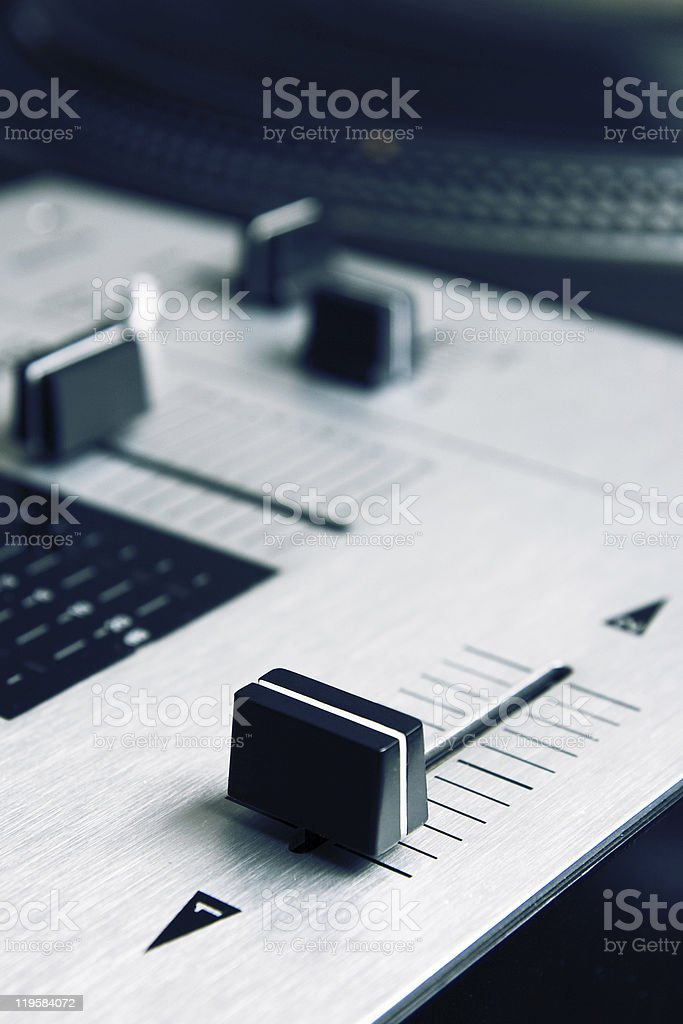 Crossfader knob on mixing controller stock photo