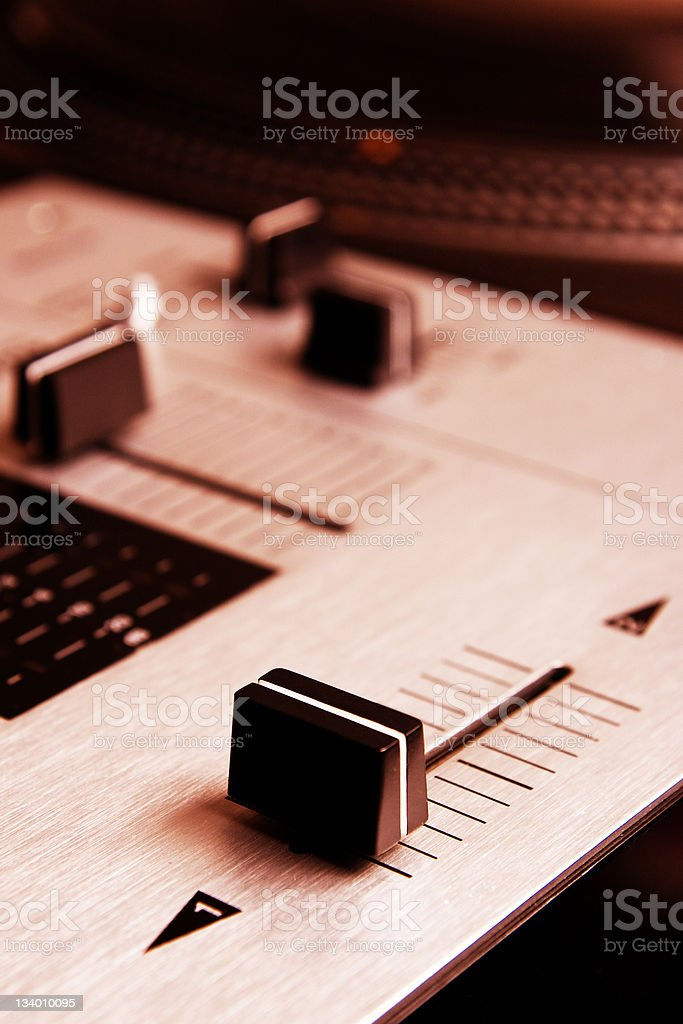 Crossfader of mixing controller stock photo