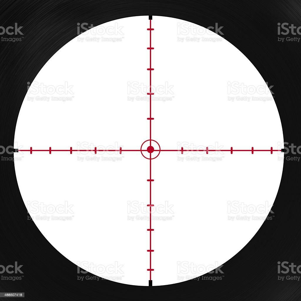 crosshair with red dot stock photo