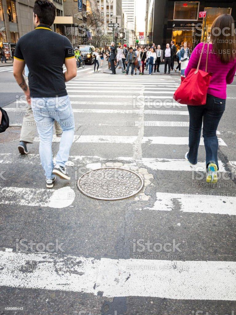 Crossing 5th Avenue Manhattan royalty-free stock photo