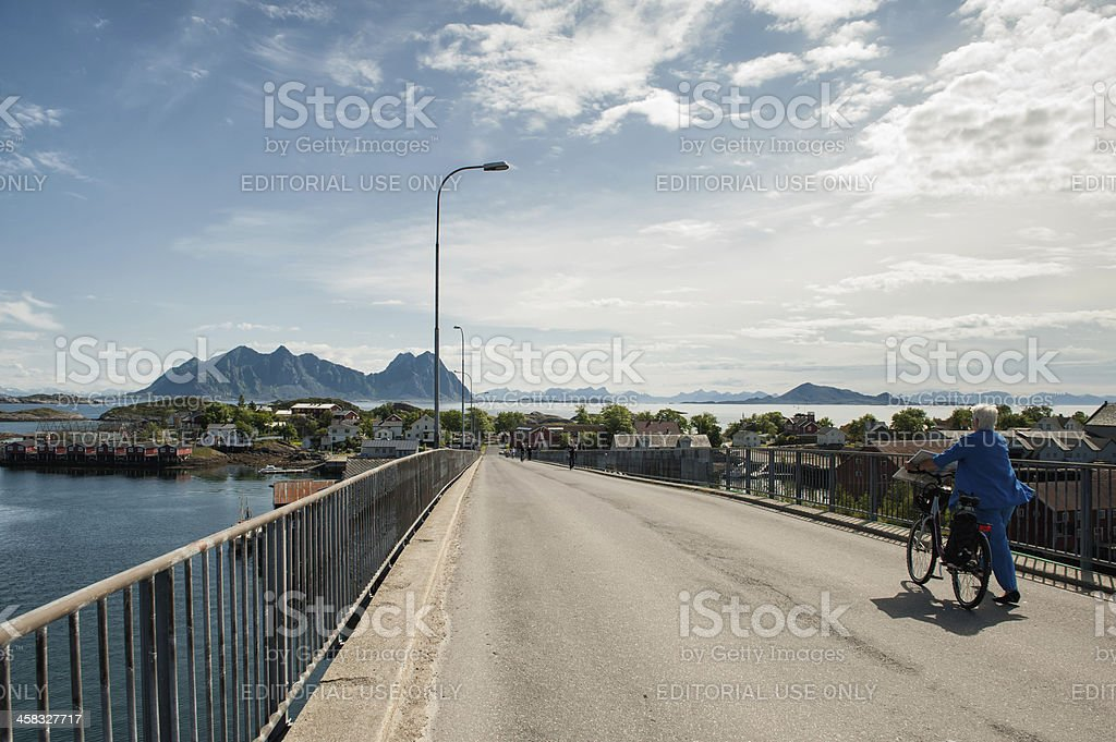 Crossing a bridge in northern Norway royalty-free stock photo