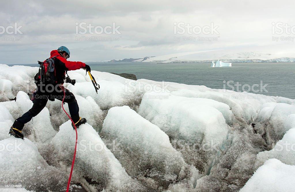 Crossing a glacier royalty-free stock photo