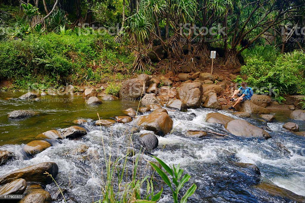 Crossing a small tropical river or stream stock photo