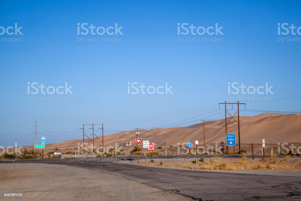 crossing at interstate 8 with damaged street stock photo