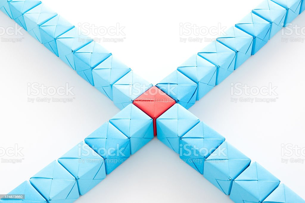 Crossing blue cubes royalty-free stock photo