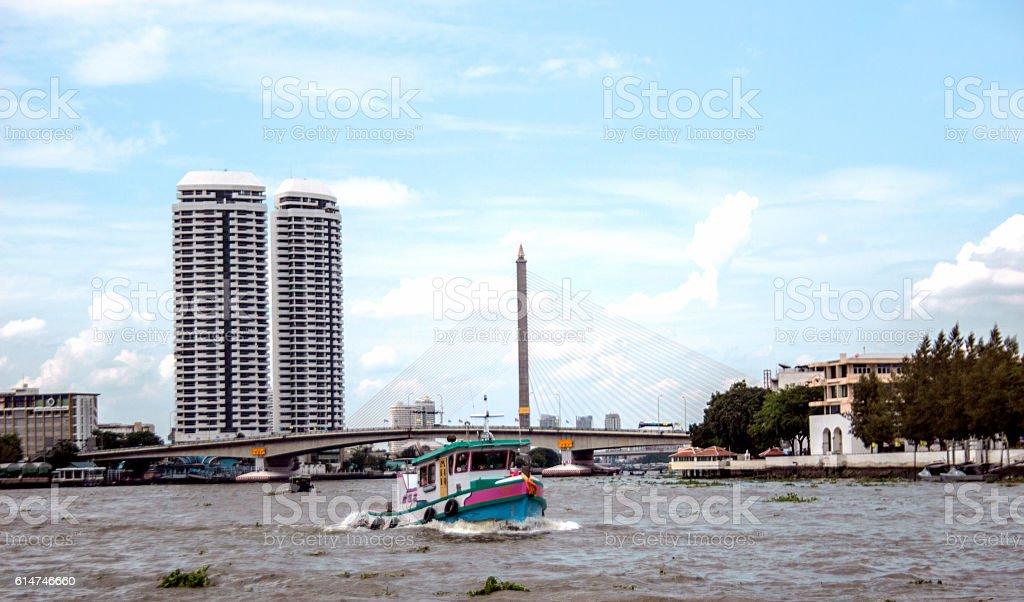 crossing boat landmark transport of Thai river stock photo
