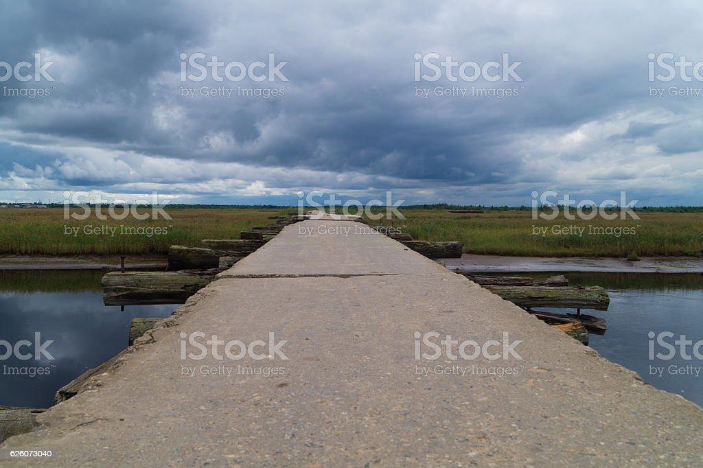 Crossing bridge background stock photo