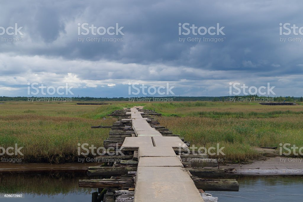 Crossing bridge landscape background stock photo
