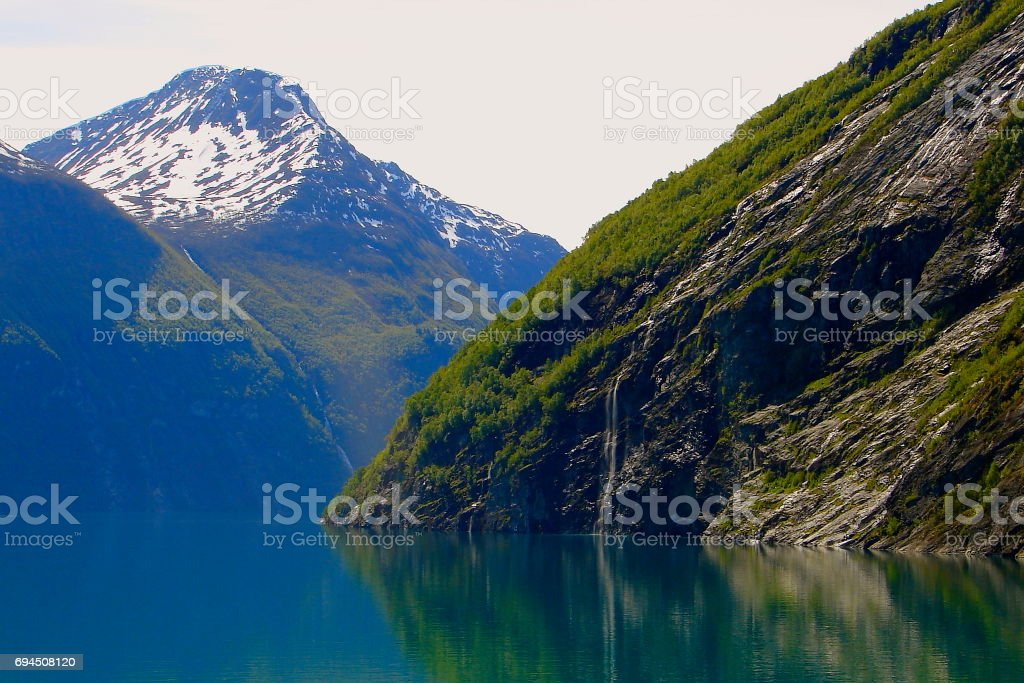 Crossing Norway impressive Geiranger Fjord by Ferry, Norwegian dramatic landscape, Scandinavia – Nordic Countries stock photo