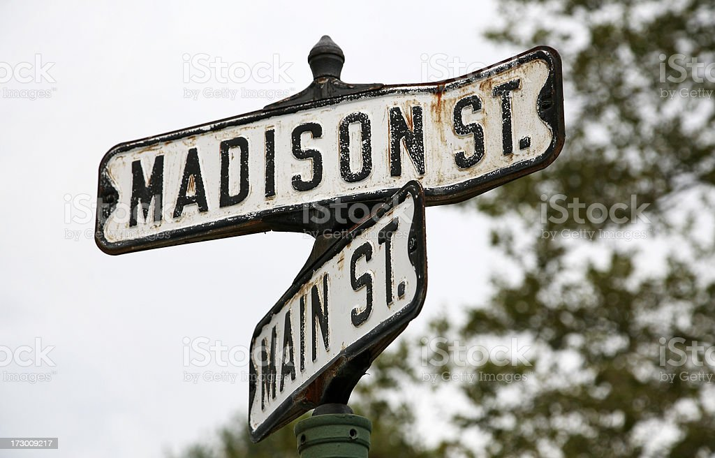 Crossing of Madison and Main. stock photo