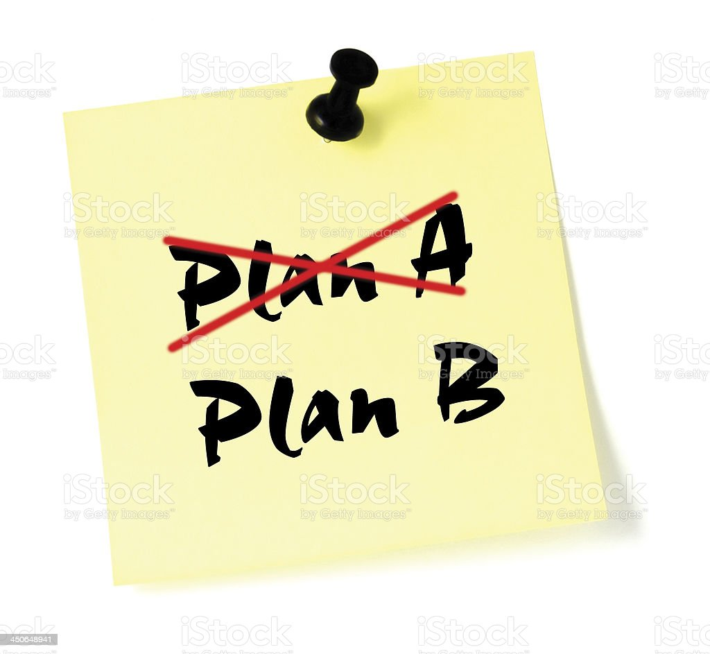 Crossing out Plan A, writing B, yellow sticky note, isolated stock photo