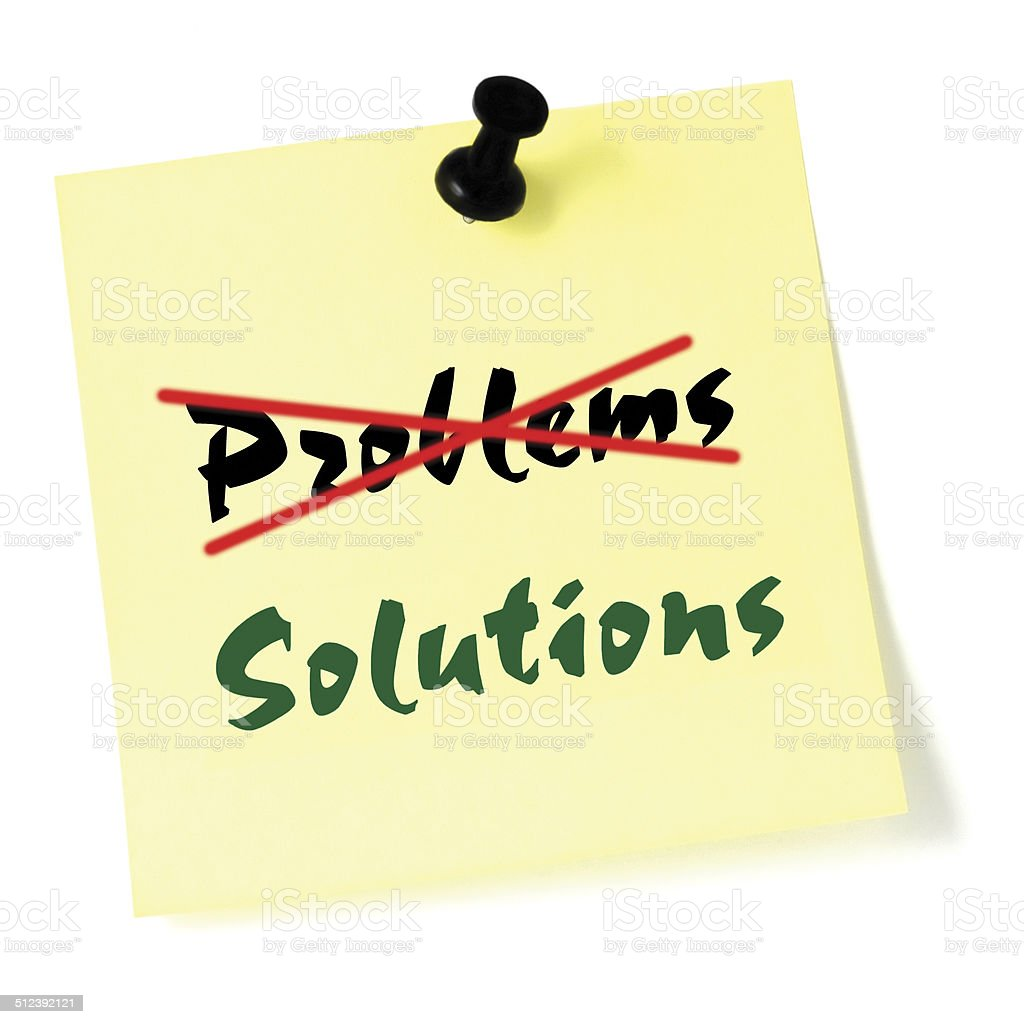 Crossing out problems, writing solutions sticky note, yellow isolated sticker stock photo