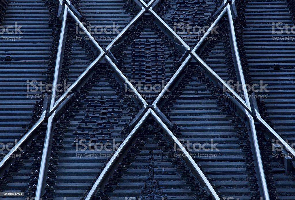 Crossing railway tracks stock photo