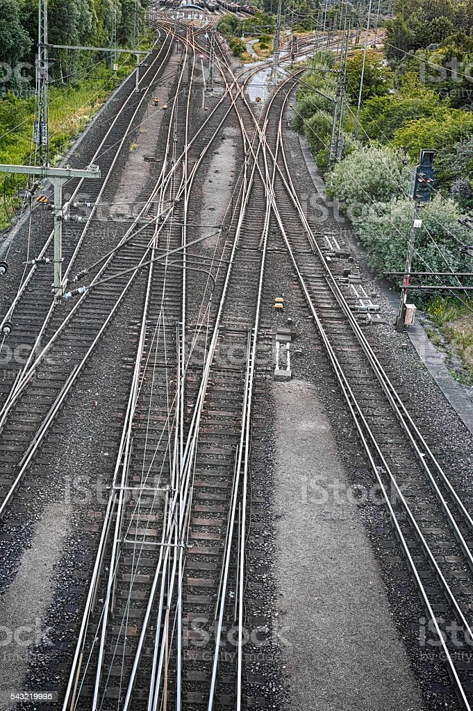 Crossing Railways in sunset light royalty-free stock photo
